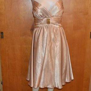 JS Collections Gold Spaghetti Strap Prom Size 6